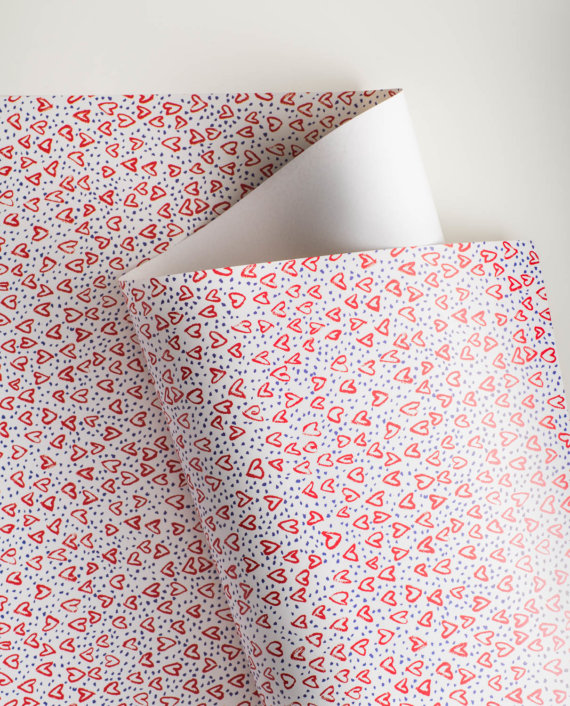 Deluge of Hearts (white) Gift Wrap