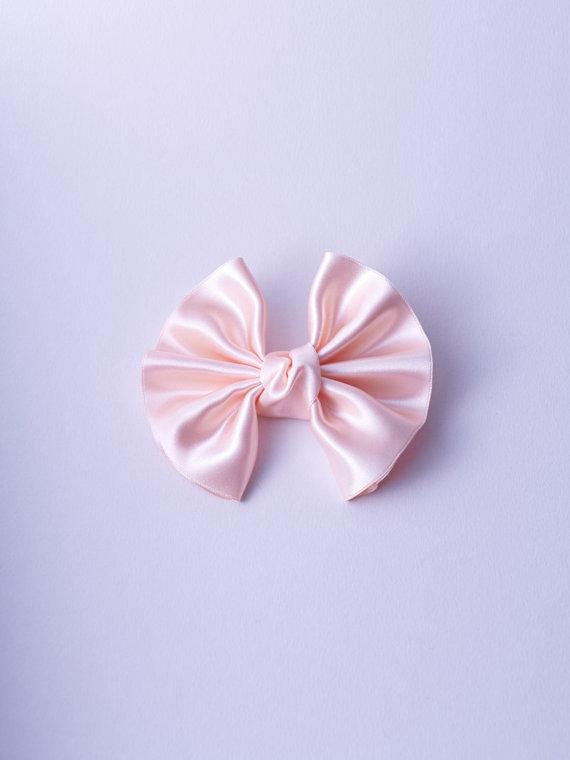Blushing Rose Satin Winged Bow by IMPRESSION ORIGINALE