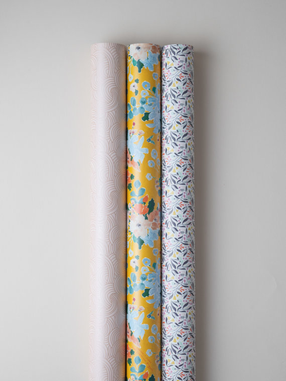 Say it with Flowers selection of 3 gift wraps by Impression Originale