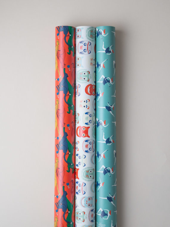 Orange zest wrap x3 selection of gift wrap by Impression Originale